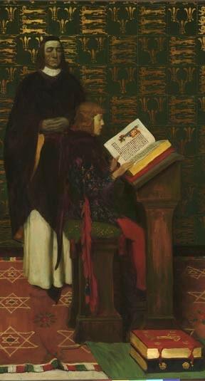 Howard Pyle. Richard de Bury como tutor del joven Eduardo III.  Delaware Art Museum.
